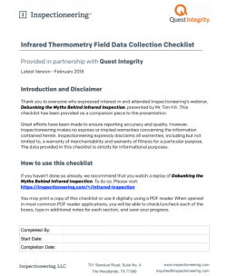 IR Thermometry Field Data Collection Checklist