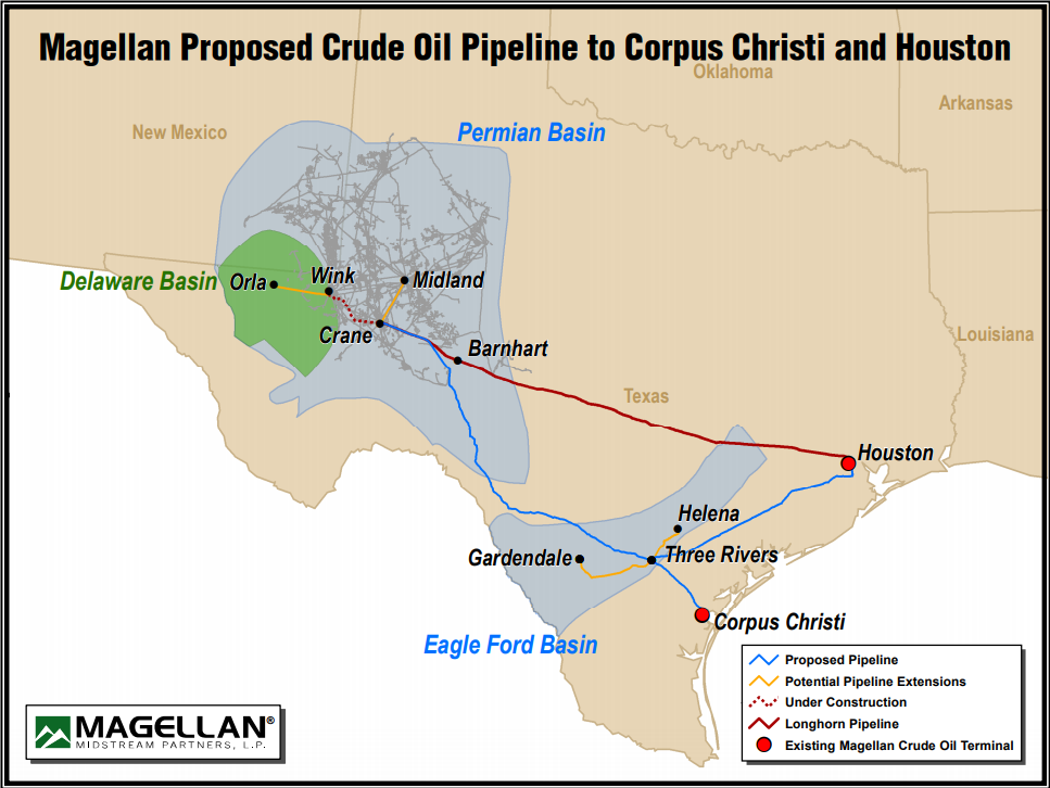 Magellan Permian to Gulf Coast Pipeline Map