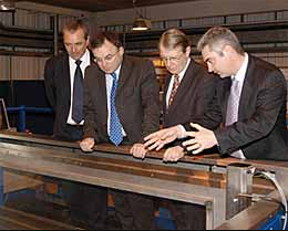 Dr. Bob John (Chief Executive of TWI), Andrew Davies, Alun Michael and Philip Wallace present state-of-the-art NDT equipment at the new Centre