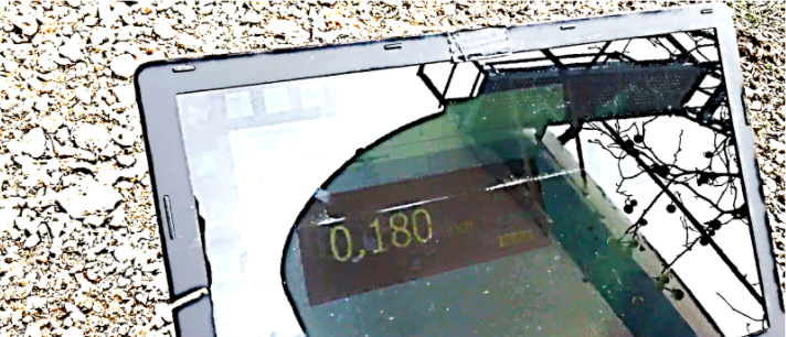 Figure 10b. Thickness Measurement data displayed in real-time at the ground-station laptop.